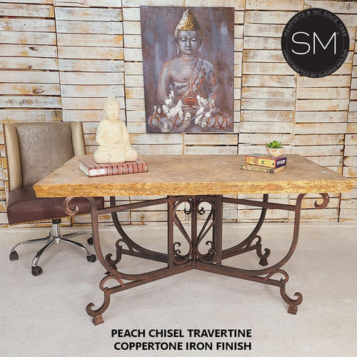 Work from home Conference Desk with Peach Chiseled Copertone Iron Base-Mexports® Inc by Susana Molina -Mexports® Inc by Susana Molina
