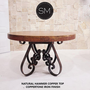 "Dining Room Furniture-Hammer Copper Round Dining Table-Round Dining table-Mexports By Susana Molina-48""-Natural Copper-Mexports® Inc by Susana Molina"