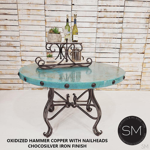 Dining Room Hand Hammered Copper Round Dining Table Model-Round Dining table-Mexports By Susana Molina -48