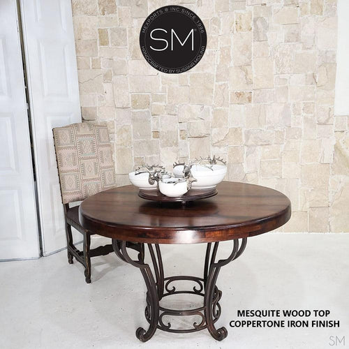 Dining Room tables - Luxury Mesquite Round Table-Mexports By Susana Molina -Mexports® Inc by Susana Molina