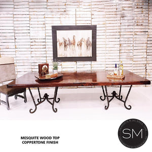 Double Pedestal Dining Table Rectangular Mesquite Wood Top-Mexports By Susana Molina-Mexports® Inc by Susana Molina