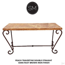 "Elegant Console Table with a premier quality Natural Travertine stone top-Console tables - Entryway tables-Mexports By Susana Molina -63""X22""-Peach Chiseled-Dark Rust Brown-Mexports® Inc by Susana Molina"