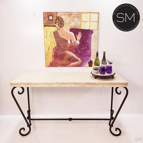 Elegant Console Table with a premier quality Natural Travertine stone top-Mexports By Susana Molina -Mexports® Inc by Susana Molina