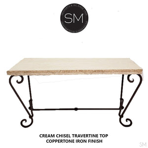 "Elegant Console Table with a premier quality Natural Travertine stone top-Console tables - Entryway tables-Mexports By Susana Molina -63""X22""-Cream Chiseled-Coppertone-Mexports® Inc by Susana Molina"