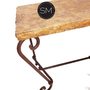 "Elegant Console Table with a premier quality Natural Travertine stone top-Console tables - Entryway tables-Mexports By Susana Molina -59""X19""-Cream double straight-Coppertone-Mexports® Inc by Susana Molina"