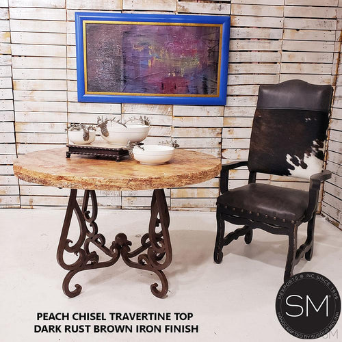 Elegant Dining Table , Contemporaneous Cream Travertine Top-Round Dining table-Mexports By Susana Molina -48