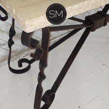 Close Up Coppertone Iron Finish-Entryway tables with Travertine stone top a stone Console table.-Mexports By Susana Molina-Mexports® Inc by Susana Molina