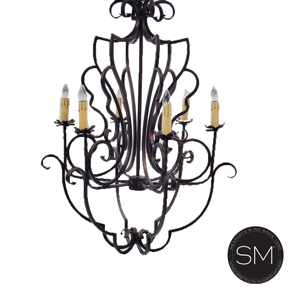 French Country Style Chandelier Awe-Inspiring Flower Design Dark Bronze-Mexports® Inc by Susana Molina -Mexports® Inc by Susana Molina