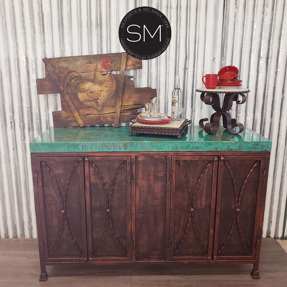 Buffet cabinet with storage Hammer-Copper Cabinet sofa table-Mexports By Susana Molina-Mexports® Inc by Susana Molina