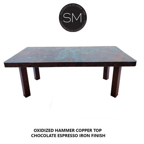 Contemporary Conference - Desk table with Hammer Copper top-Desks - Conference tables-Mexports By Susana Molina-6'-Natural Copper-Dark Rust Brown-Mexports® Inc by Susana Molina