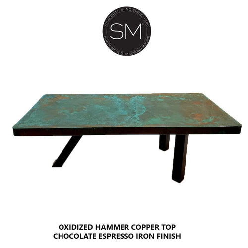 Contemporary Desk - Conference table Hammer Copper top-Desks - Conference tables-Mexports By Susana Molina-Oxidized Hammer Copper-6'-Chocolate Espresso-Mexports® Inc by Susana Molina