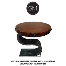 Contemporary & Modern Hammer Copper side - End Table-Side tables, End tables & Foyer tables-Mexports By Susana Molina-Natural Hammer Copper-Dark Rust Brown-Mexports® Inc by Susana Molina
