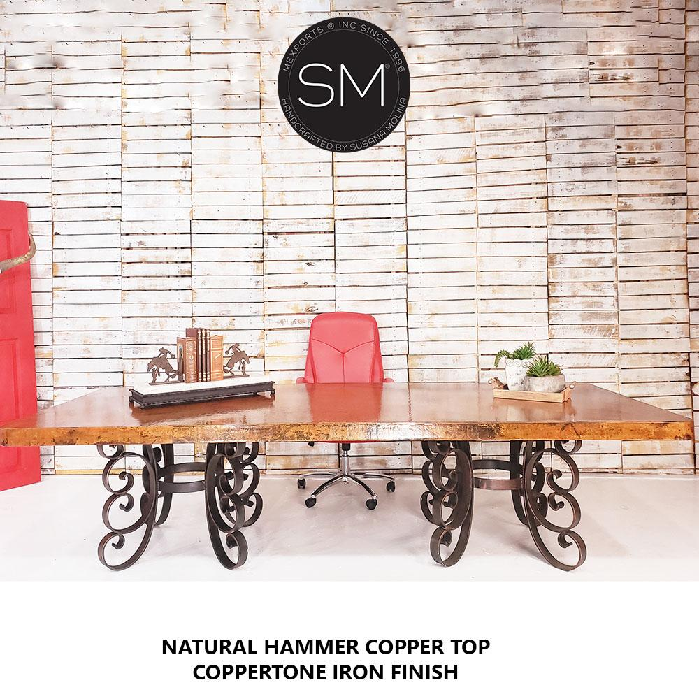 Hammer Copper Double Pedestal -Luxury Modern Desk-Mexports By Susana Molina-Mexports® Inc by Susana Molina