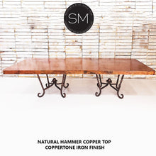 Hammer Copper Double Pedestal Dining Table -Luxury Modern Desk-Conference Table-Desks - Conference tables-Mexports By Susana Molina-8'-Natural Copper-Dark Rust Brown-Mexports® Inc by Susana Molina