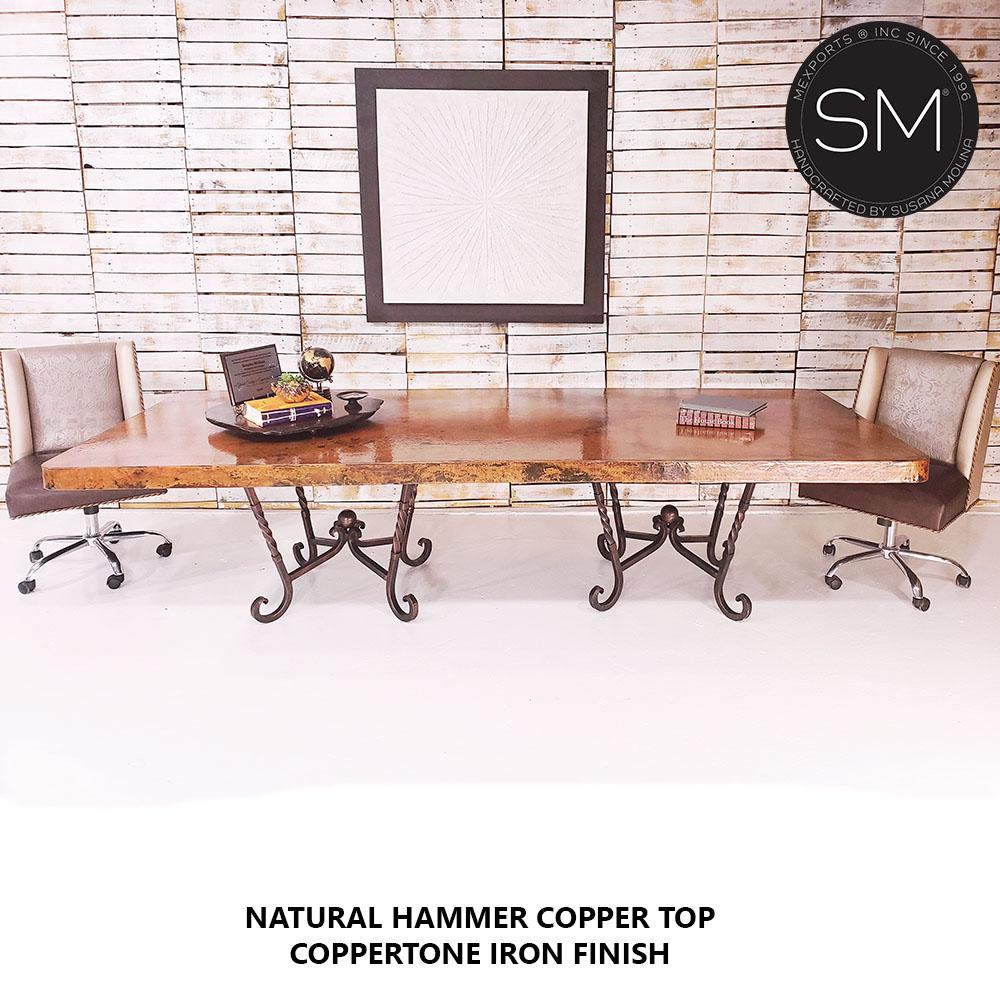 Hammer Copper Double Pedestal Dining Table -Luxury Modern Desk-Conference Table-Desks - Conference tables-Mexports By Susana Molina-8'-Natural Copper-Chocolate Espresso-Mexports® Inc by Susana Molina