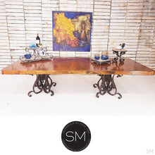Hammer Copper Double Pedestal Dining Table -Luxury Modern Iron-Mexports By Susana Molina -Mexports® Inc by Susana Molina