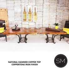 Hammer Copper Double Pedestal Dining Table -Luxury Modern Iron Dining tables - Mexports® Inc by Susana Molina