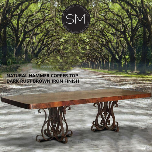 Hammer Copper Double Pedestal Dining Table -Luxury Modern Iron Dining tables-Rectangular Dininjg tables-Mexports By Susana Molina -Natural Copper 8