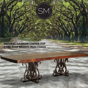 "Hammer Copper Double Pedestal Dining Table -Luxury Modern Iron Dining tables-Rectangular Dininjg tables-Mexports By Susana Molina -Natural Copper 8""-Dark Rust Brown-Mexports® Inc by Susana Molina"