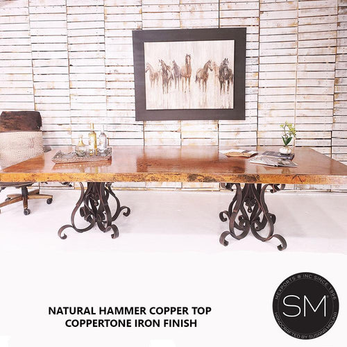 Hammer Copper Double Pedestal - Luxury Modern Conference Table-Mexports By Susana Molina-Mexports® Inc by Susana Molina