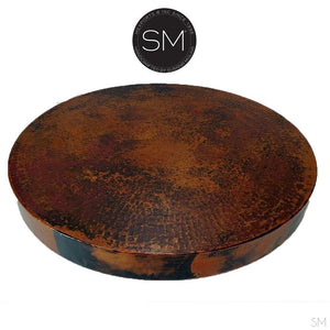 "Large Occasional Table Nightstand Cynosure Round Natural Hammer Copper Top-Ocasional tables, side tables & foyer tables-Mexports By Susana Molina -Natural Hammer Cppper-31""Rd-Chocolate Espresso-Mexports® Inc by Susana Molina"