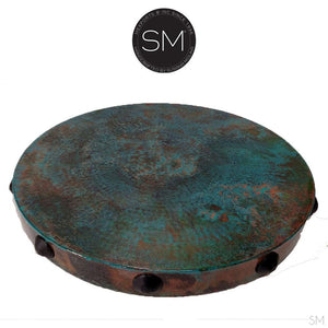 "Large Occasional Table Nightstand Cynosure Round Natural Hammer Copper Top-Ocasional tables, side tables & foyer tables-Mexports By Susana Molina -Oxidized Hammer Copper-31""Rd-Dark Rust Brown-Mexports® Inc by Susana Molina"