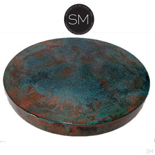 "Large Occasional Table Nightstand Cynosure Round Natural Hammer Copper Top-Ocasional tables, side tables & foyer tables-Mexports By Susana Molina -Oxidized Hammer Copper-31""Rd-Coppertone-Mexports® Inc by Susana Molina"