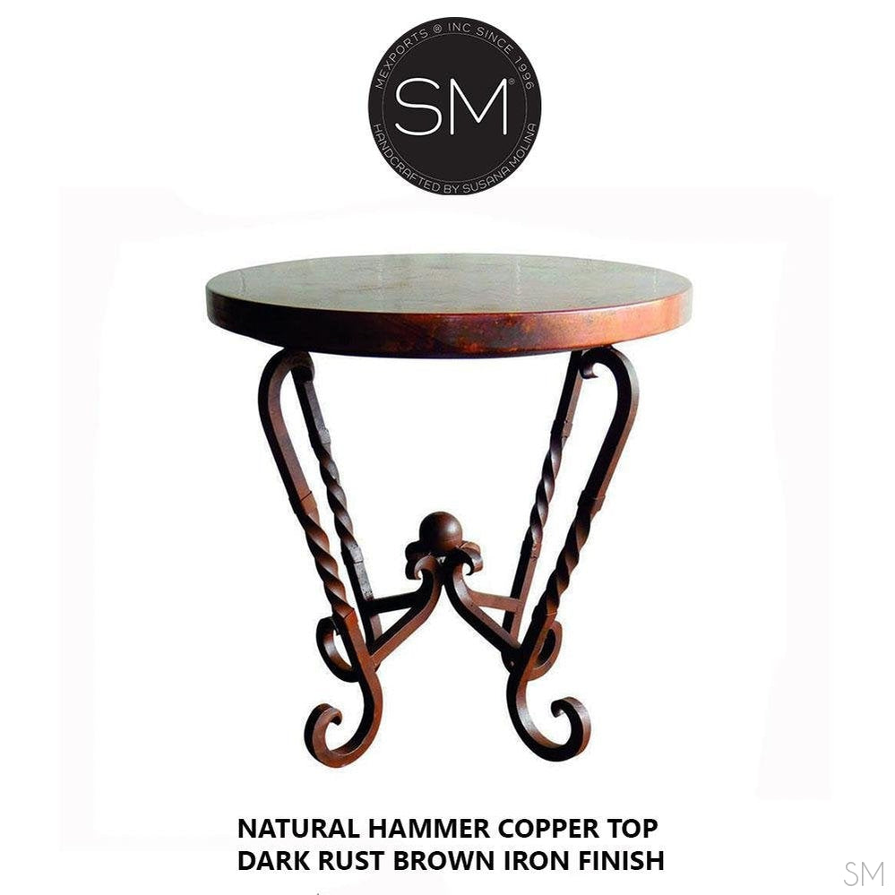 Large Occasional Table Nightstand Cynosure Round Natural Hammer Copper Top-Ocasional tables, side tables & foyer tables-Mexports By Susana Molina -Natural Hammer Cppper-31