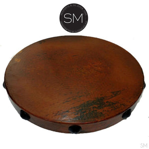 "Large Occasional Table Nightstand Cynosure Round Natural Hammer Copper Top-Ocasional tables, side tables & foyer tables-Mexports By Susana Molina -Natural Hammer Cppper-38""Rd-Chocolate Espresso-Mexports® Inc by Susana Molina"
