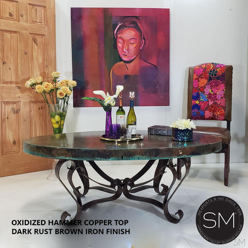 Grandeur Hammer Copper Oval Coffee Table-Mexports By Susana Molina -Mexports® Inc by Susana Molina