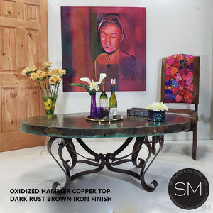Grandeur Hammer Copper Oval Coffee Table-RUSTIC OVAL COFFEE TABLE-Mexports By Susana Molina -Natural Copper-Dark Rust Brown-Mexports® Inc by Susana Molina