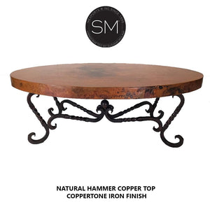 Luxury Hammer Copper Oval Coffee Table -Iron legs-Oval coffee table-Mexports By Susana Molina-Natural Copper-Dark Rust Brown-Mexports® Inc by Susana Molina