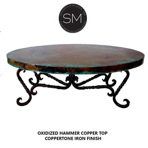 Hammer Copper Oval Coffee Table Model 1211 AA - Mexports® Inc by Susana Molina