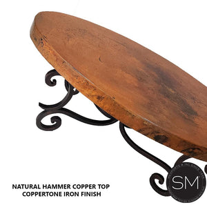 Copper coffe table-Luxury Oval coffee tablewith hammer copper top-Oval coffee table-Mexports By Susana Molina-Natural Hammer Copper-Dark Rust Brown-Mexports® Inc by Susana Molina