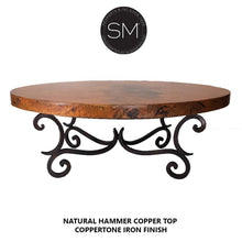 Copper coffe table-Luxury Oval coffee tablewith hammer copper top-Oval coffee table-Mexports By Susana Molina-Natural Hammer Copper-Coppertone-Mexports® Inc by Susana Molina