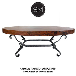 Bestseller Hammer Copper Oval Coffee Table - Iron tables-Mexports By Susana Molina-Mexports® Inc by Susana Molina