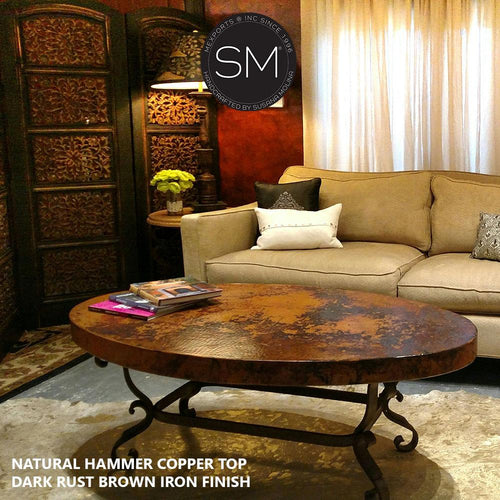 Bestseller Hammer Copper Oval Coffee Table -Iron tables-Oval coffee table-Mexports By Susana Molina-Natural Hammer Copper-Dark Rust Brown-Mexports® Inc by Susana Molina