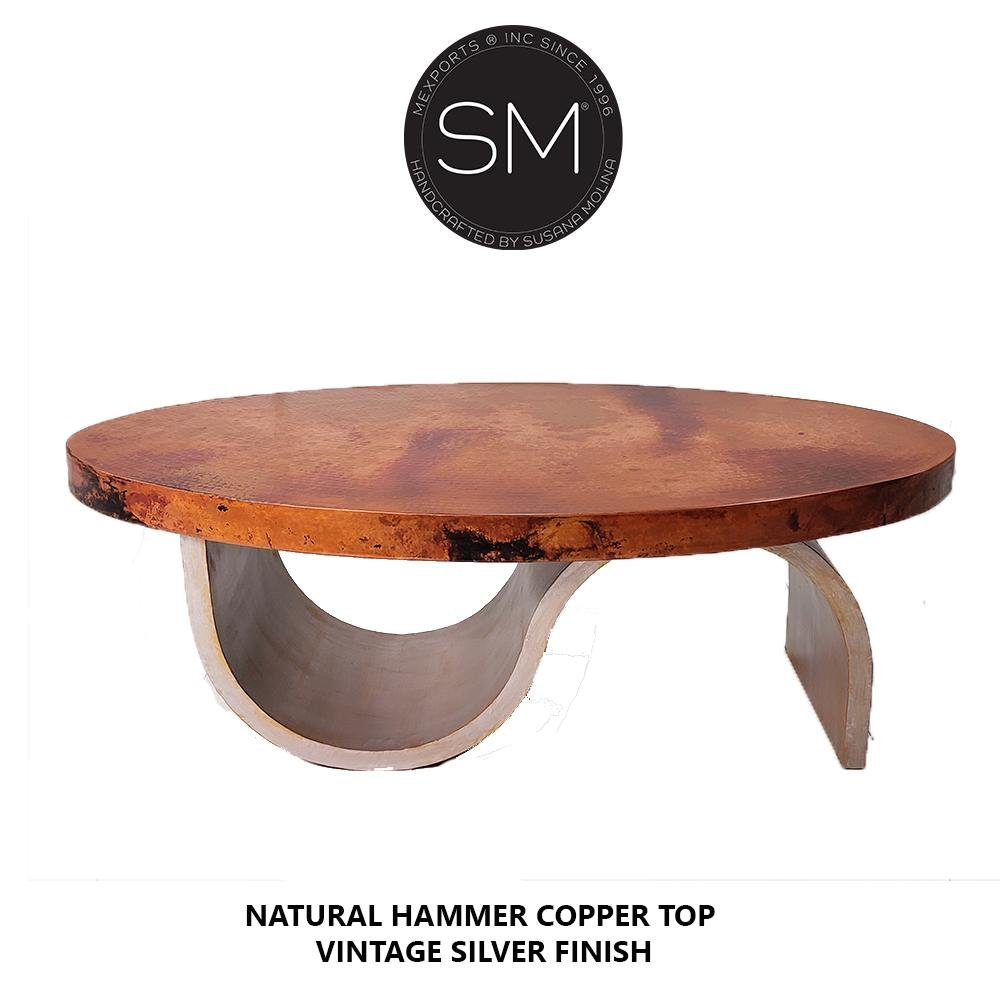 Unique design Hammer Copper Oval Coffee Table-Mexports By Susana Molina-Mexports® Inc by Susana Molina