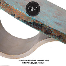 Unique design Hammer Copper Contemporary Oval Coffee Table-RUSTIC OVAL COFFEE TABLE-Mexports By Susana Molina-Natural Hammer Copper-Dark Rust Brown-Mexports® Inc by Susana Molina