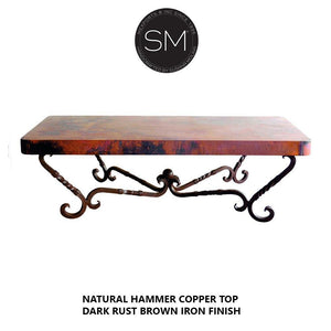 Hammer Copper Rectangular Coffee Table Model 1211 AA - Mexports® Inc by Susana Molina
