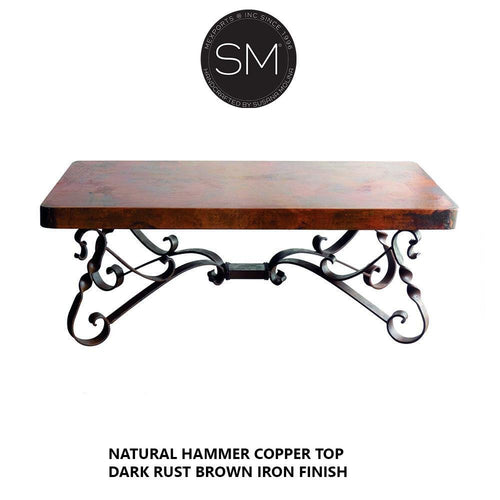 One of a kind Hammer Copper Rectangular Cocktail -Coffee Table .-Rectangular Coffee table-Mexports By Susana Molina-Natural Hammer Copper-Dark Rust Brown-Mexports® Inc by Susana Molina