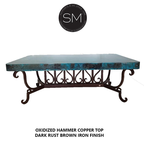 Southwestern Style Hammer Copper Rectangular Coffee Table-Mexports By Susana Molina-Mexports® Inc by Susana Molina
