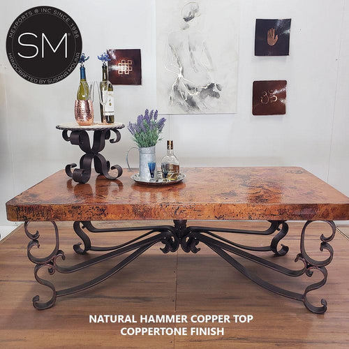 Coffee tables for Elegant Living Room- Hammer Copper Rectangular Coffee Table-Rectangular Coffee table-Mexports By Susana Molina-Natural Hammer Copper-Coppertone-Mexports® Inc by Susana Molina