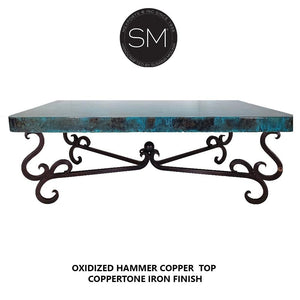 Elegant Hammer Copper Rectangular Coffee Table - Metal-Mexports By Susana Molina-Mexports® Inc by Susana Molina