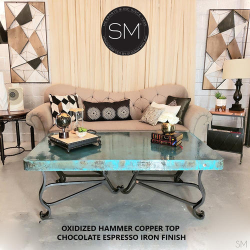 Copper Table Rectangular made of wrought iron& oxidized hammer copper top-Rectangular Coffee table-Mexports By Susana Molina -Oxdized Hammer Copper-Chocolate Espresso-Mexports® Inc by Susana Molina