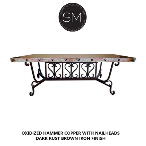 Luxury Conference table -Hammer Copper Rectangular Dining Table-Desks - Conference tables-Mexports By Susana Molina-6'-Natural Copper-Dark Rust Brown-Mexports® Inc by Susana Molina