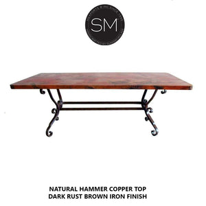 Elegant and Classic Hammer Copper Rectangular Dining Table-Mexports By Susana Molina-Mexports® Inc by Susana Molina