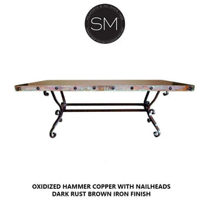 Hammer Copper Rectangular Dining Table Model 1239 R - Mexports® Inc by Susana Molina