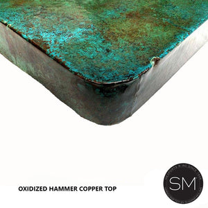 Furniture made with Mexican Hammer Copper - Rectangular Dining Table-Rectangular Dining table-Mexports By Susana Molina-6'-Oxidized Copper-Dark Rust Brown-Mexports® Inc by Susana Molina