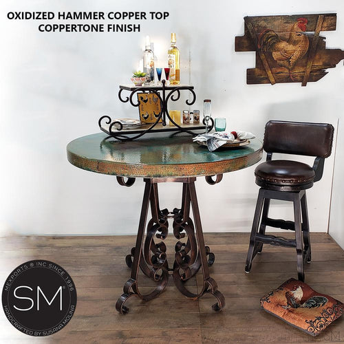 Modern bar + pub tables Hammer Copper Round Table-Mexports By Susana Molina -Mexports® Inc by Susana Molina